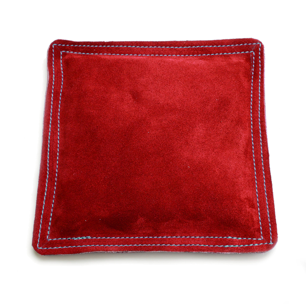 "Metal Stamping Tools  9"" Square Red Leather/Suede Sandbag, Bench Block Pad"