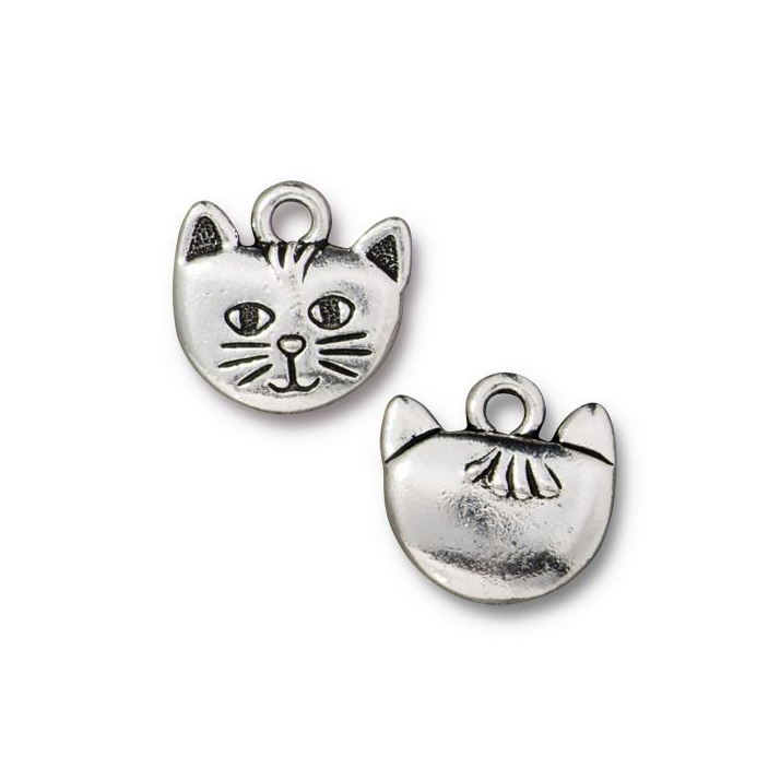 Charms & Solderable Accents Silver Plated Pewter Cat Face Charm