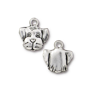 Charms & Solderable Accents Silver Plated Pewter Dog Face Charm