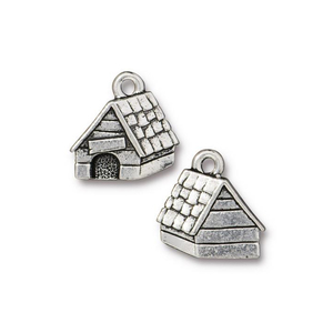 Charms & Solderable Accents Silver Plated Pewter Dog House Charm