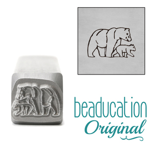 Metal Stamping Tools Mama (or Papa) & Baby Bear Walking Right Metal Design Stamp, 11mm - Beaducation Original