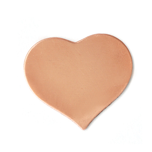 "Metal Stamping Blanks Copper Puffy Heart, 24mm (.94"") x 21.5mm (.85""), 24g, Pk of 5"