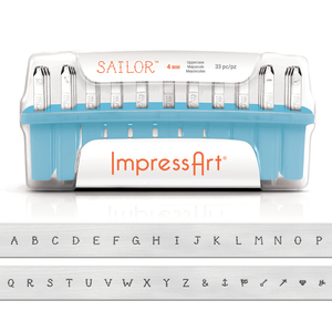 Metal Stamping Tools ImpressArt Uppercase Sailor Uppercase Letter Stamp Set, 4mm