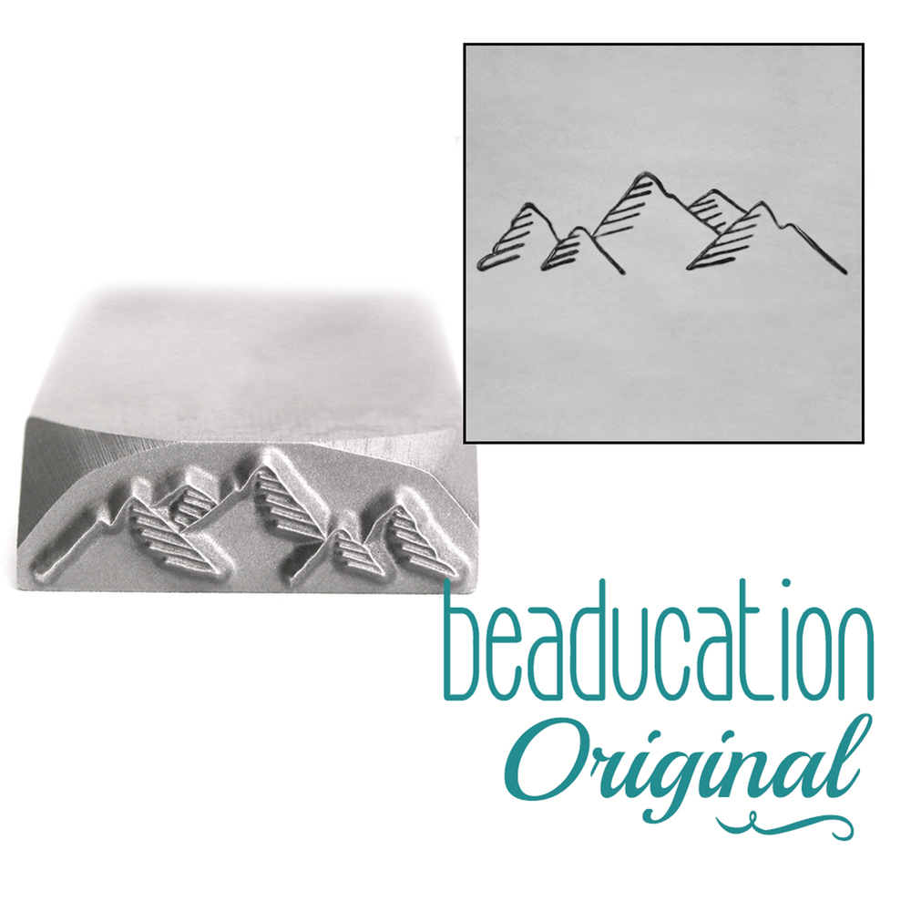 Metal Stamping Tools Mountain Range Metal Design Stamp, 17mm - Beaducation Original