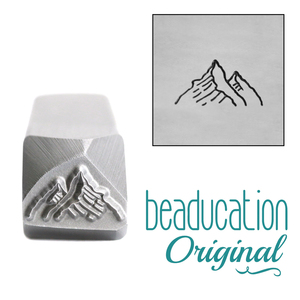Metal Stamping Tools Two Mountains, Tall Peak on the Left Metal Design Stamp, 12mm - Beaducation Original