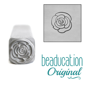 Metal Stamping Tools Open Rose Flower Metal Design Stamp, 8mm - Beaducation Original