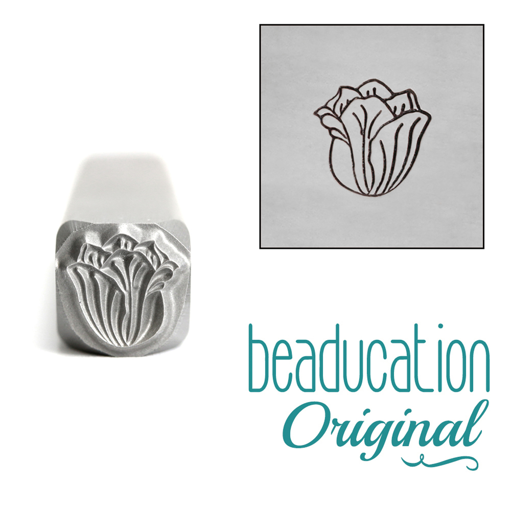 Metal Stamping Tools Tulip Flower Metal Design Stamp, 8mm - Beaducation Original