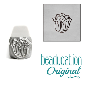 Metal Stamping Tools Tulip Flower Metal Design Stamp, 8mm - Beaducation Original