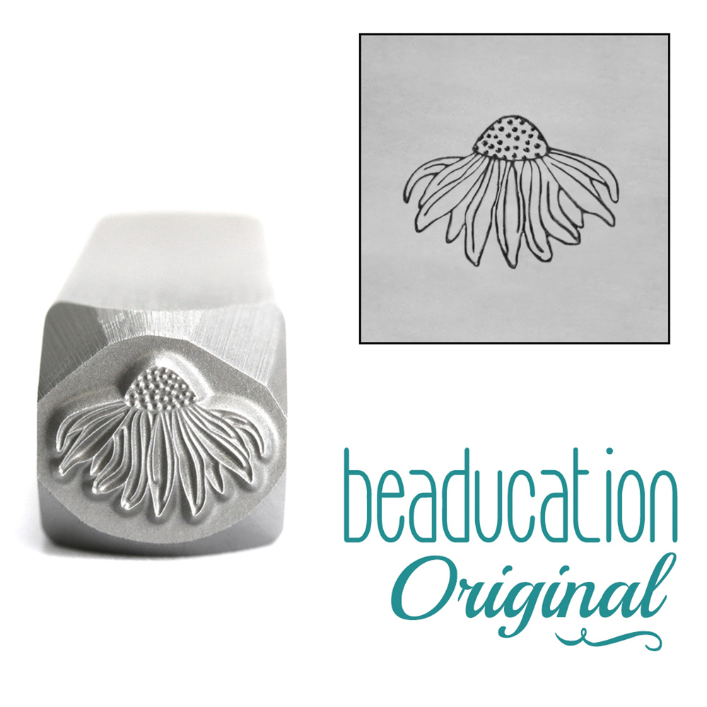 Metal Stamping Tools Echinacea Flower Metal Design Stamp, 10.5mm - Beaducation Original