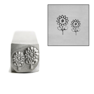 Metal Stamping Tools Two Daises with Stems Flower Metal Design Stamp, 8.7mm