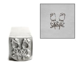 Metal Stamping Tools Two Roses with Stems Flower Metal Design Stamp, 8.7mm