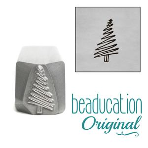 Metal Stamping Tools Scribble Christmas Tree Metal Design Stamp, 11mm - Beaducation Original