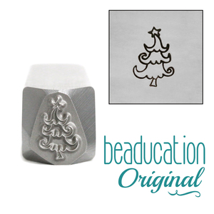 Metal Stamping Tools Whimsical Christmas Tree Metal Design Stamp, 10.2mm - Beaducation Original