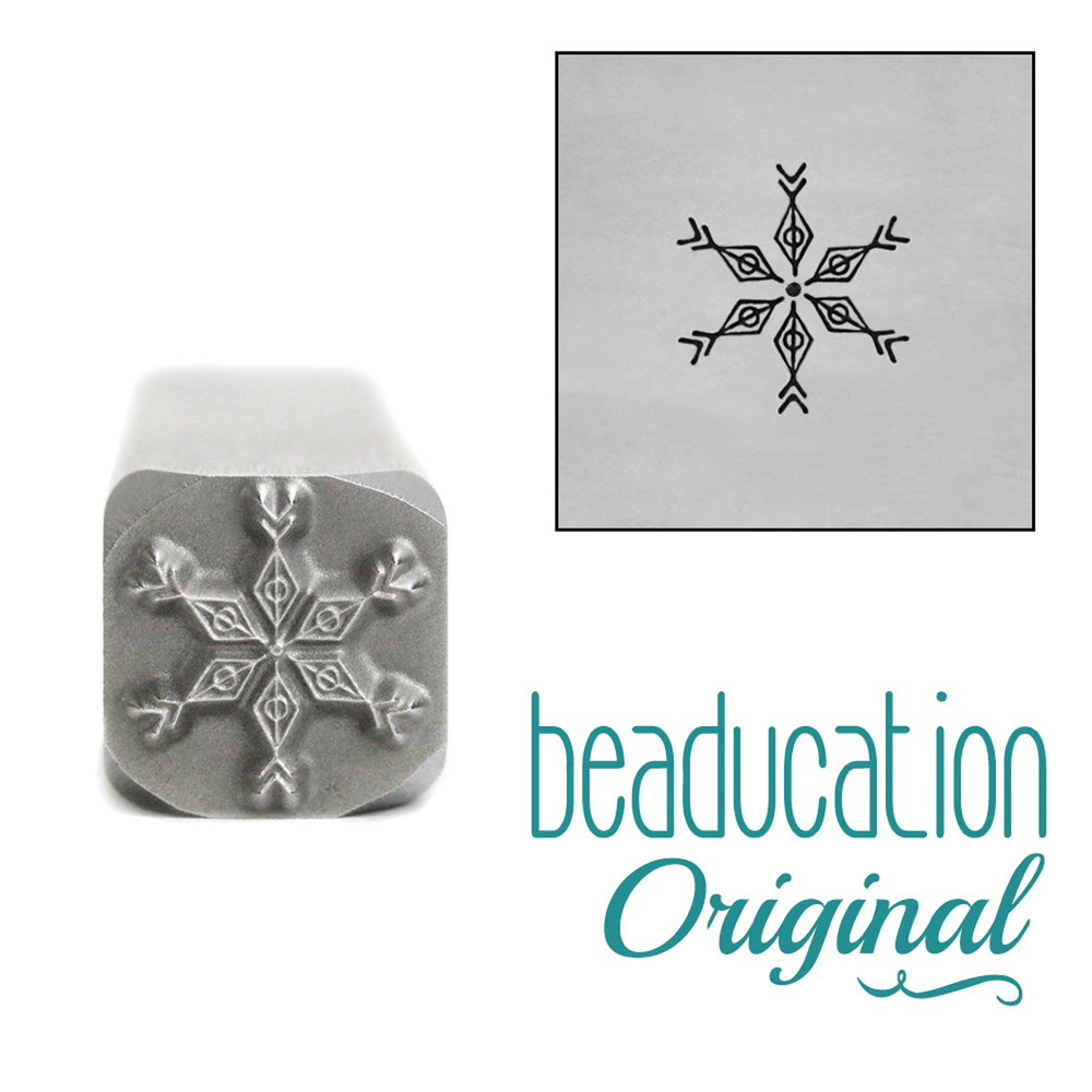 Metal Stamping Tools Boho Snowflake Metal Design Stamp, 8mm - Beaducation Original