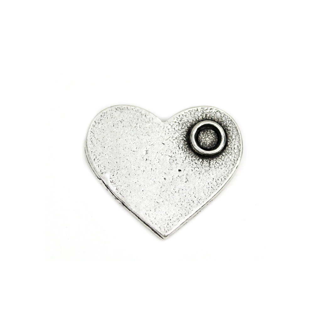 "Metal Stamping Blanks Pewter Heart with Birthstone Bezel, 18.4mm (.72"") x 15.9mm (.6""), 16g"