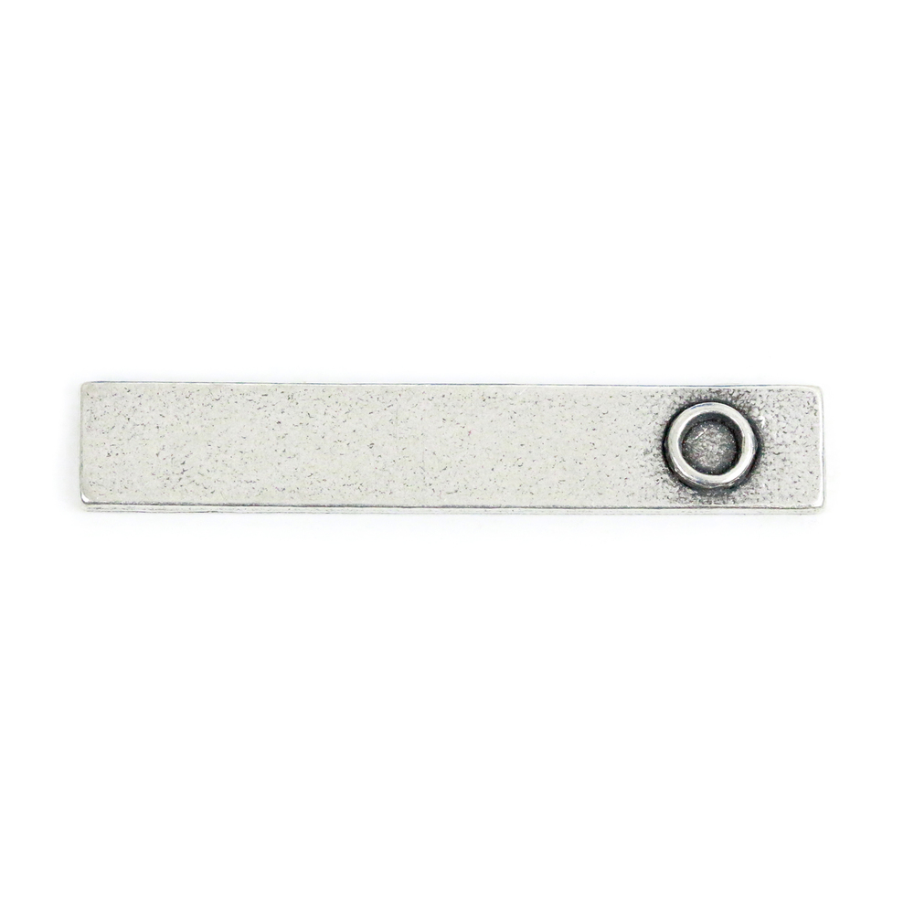 "Metal Stamping Blanks Pewter Rectangle Pendant with Birthstone Bezel, 35.2mm (1.39"") x 6.4mm (.25""), 16g"