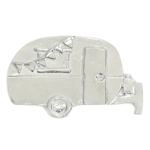 "Metal Stamping Blanks Pewter Camper with Flags, 66.6mm (2.6"")  x 42.5mm (1.7mm), 16g"