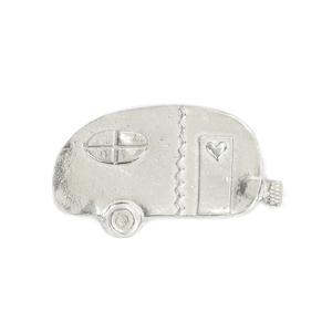 "Metal Stamping Blanks Pewter Camper with Heart on Door, 53.3mm (2.1"") x 30.8mm (1.2""), 16g"