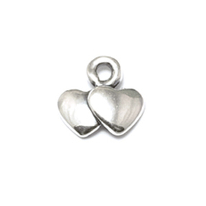 Charms & Solderable Accents Sterling Silver Tiny Double Heart Charm