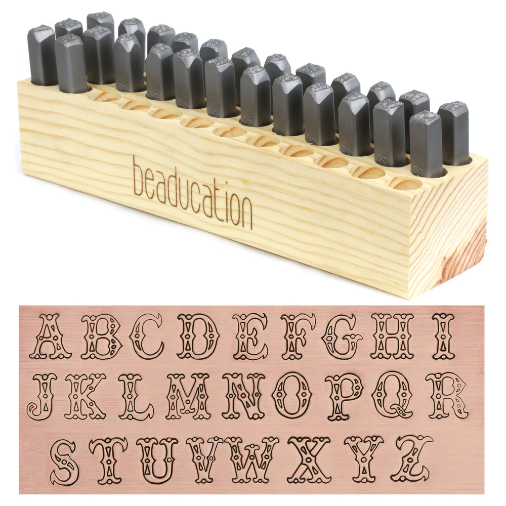 Metal Stamping Tools Beaducation Cowgirl Carnival Letter Stamp Set, 7mm