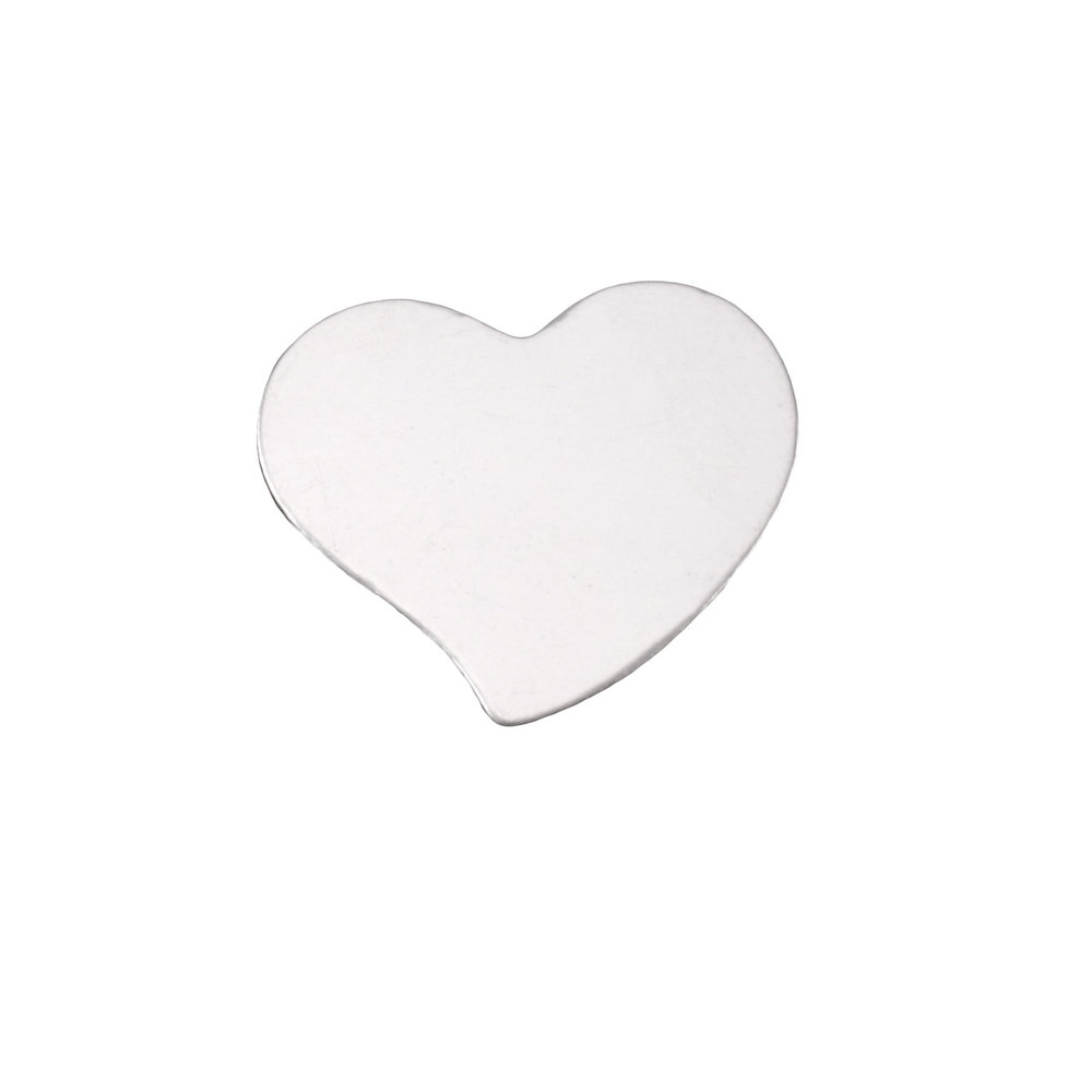 "Metal Stamping Blanks Sterling Silver Stylized Heart, 15mm (.59"") x 14mm (.55""), 24g"