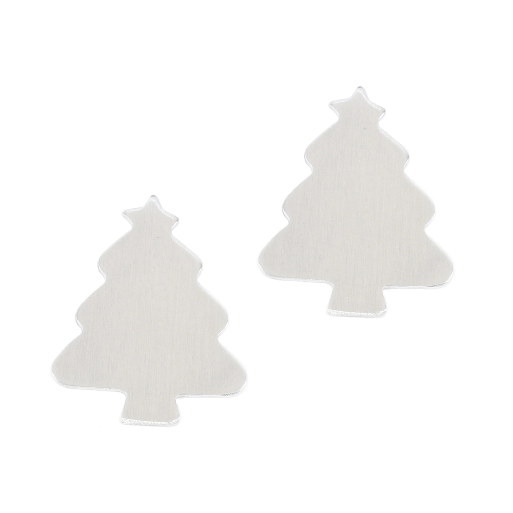 "Metal Stamping Blanks Aluminum  Tree, 31.3mm (1.23"") x 25.6mm (1""), 18g - Pack of 2"