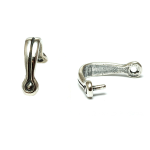 Rivets and Findings  Sterling Silver Pinch Bail with Stripe, Pack of 5