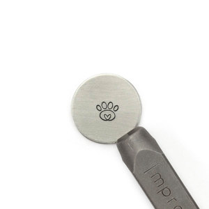 Metal Stamping Tools ImpressArt Paw Print Heart Metal Design Stamp, 6.5mm