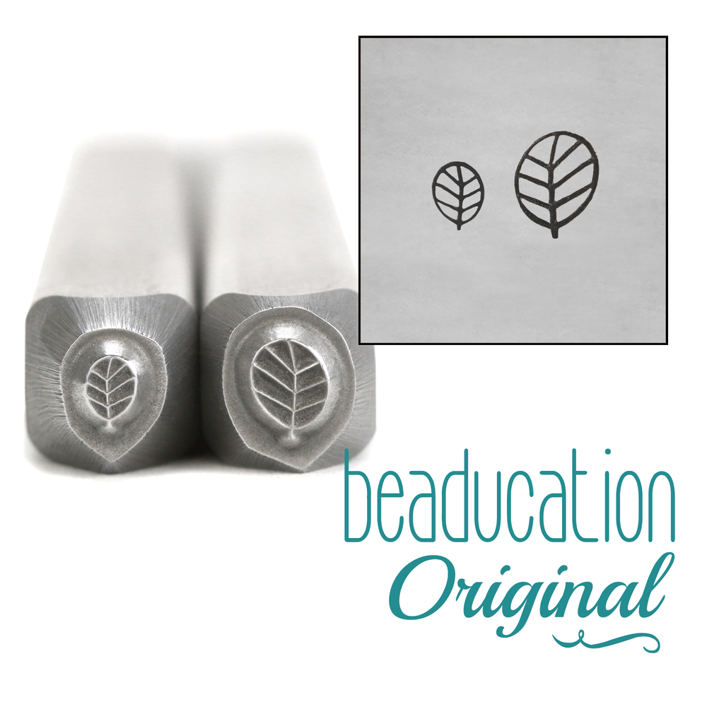 Metal Stamping Tools Round Leaf Set of Metal Design Stamps, 4.5mm and 3.5mm - Beaducation Original