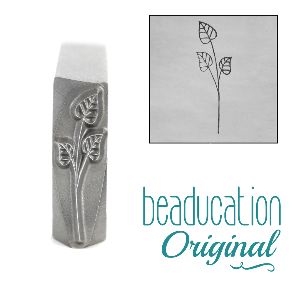 Metal Stamping Tools Long Stem with Three Leaves Metal Design Stamp, 17mm - Beaducation Original
