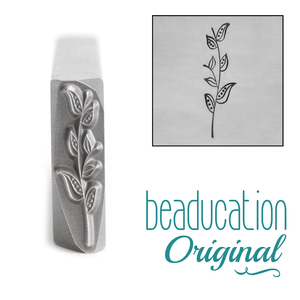 Metal Stamping Tools Long Stem with Seven Leaves Metal Design Stamp, 18mm - Beaducation Original