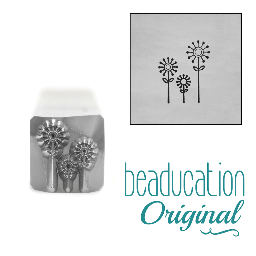Metal Stamping Tools Three Flowers Metal Design Stamp, 8.8mm, Beaducation Exact Series by Stamp Yours