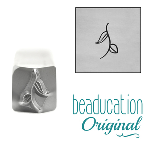 Metal Stamping Tools Stem with 2 Leaves Metal Design Stamp, 8mm, Beaducation Exact Series by Stamp Yours