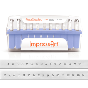 Metal Stamping Tools ImpressArt Uppercase Heartbreaker Letter Stamp Set, 3mm