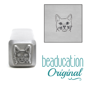 Metal Stamping Tools Cat Face Metal Design Stamp, 8mm - Beaducation Original