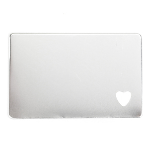 "Metal Stamping Blanks Aluminum Wallet Card with Heart Cutout, 85.5mm (3.36"") x 53.8mm (2.12""), 16g"