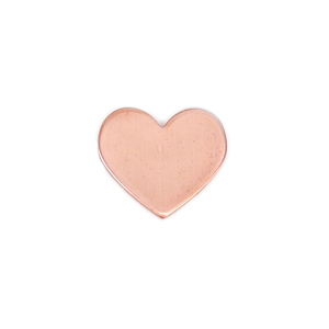 "Metal Stamping Blanks Copper Heart, 16mm (.63"") x 14mm (.55""), 20g, Pack of 5 - Tumbled"