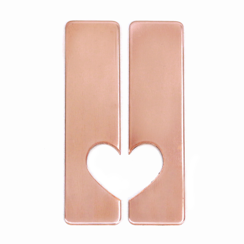 "Metal Stamping Blanks Copper Set of Rectangles with Half Heart Cut Out, 50mm (1.97"") x 12.7mm (.5""), 20g, Pack of 5 Sets - Tumbled"