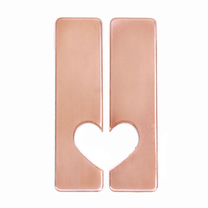 "Metal Stamping Blanks Copper Set of Rectangles with Half Heart Cutout, 50mm (1.97"") x 12.7mm (.5""), 20g, Pack of 5 Sets - Tumbled"