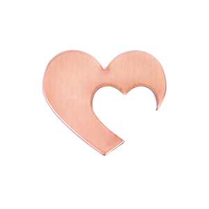 "Metal Stamping Blanks Copper Hearts with Offset Heart Cutout, 30mm (1.18"") x 25mm (.98""), 20g, Pack of 5 - Tumbled"