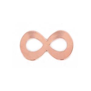"""Metal Stamping Blanks Copper Infinity, 32mm (1.26"""") x 18.3 (.72""""), 20g, Pk of 5 - Tumbled"""