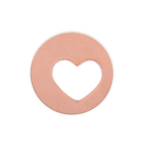 "Metal Stamping Blanks Copper Circle with Offset Heart Cutout, 25mm (1""), 20g, Pack of 5 - Tumbled"