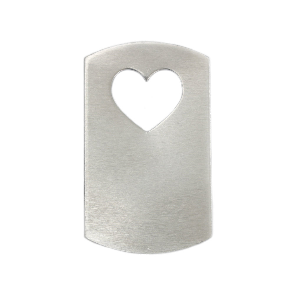 070dc8e94f33 Metal Stamping Blanks Aluminum Dog Tag with Heart Cut Out, 47mm (1.85
