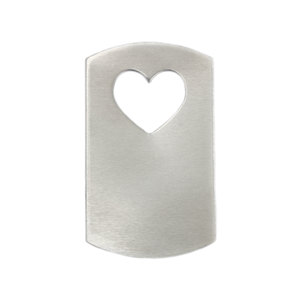 "Metal Stamping Blanks Aluminum Dog Tag with Heart Cut Out, 47mm (1.85"") x 28mm (1.1""), 16g, Pk of 5"