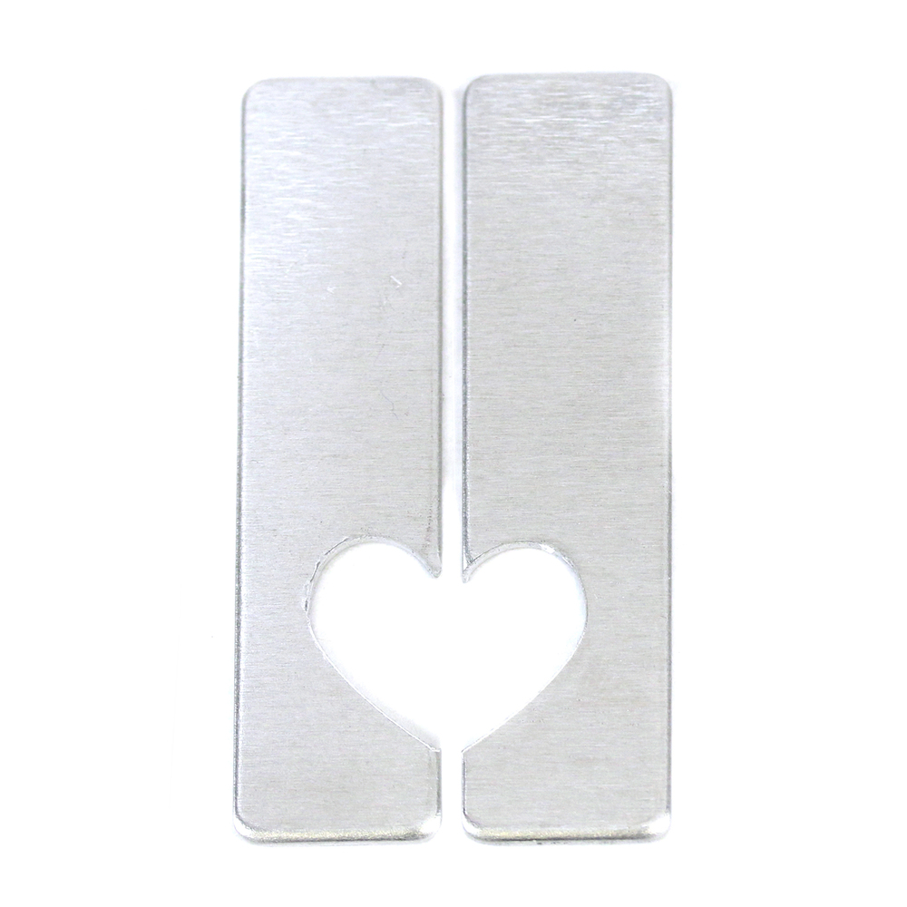 "Metal Stamping Blanks Aluminum Set of Rectangles with Half Heart Cut Out, 50mm (1.97"") x 12.7mm (.5""), 16g, One Set"