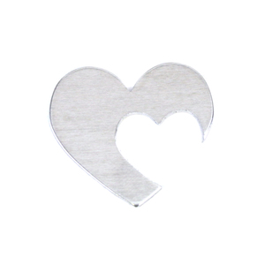 "Metal Stamping Blanks Aluminum Hearts with Offset Heart Cutout, 30mm (1.18"") x 25mm (.98""), 16g, Pack of 5"