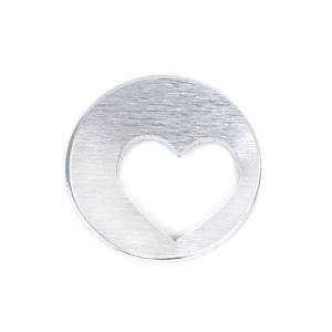 "Metal Stamping Blanks Aluminum Round, Disc, Circle 16mm (.63"") with Offset Heart Cut Out , 16g, Pack of 5"