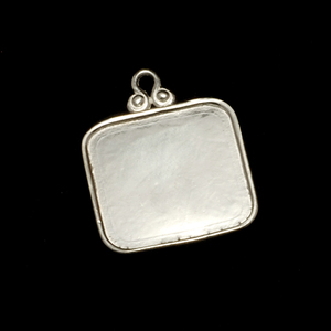 "Metal Stamping Blanks Sterling Silver Rounded Square Pendant with Raised Edge, 16mm (.63""), 19g"