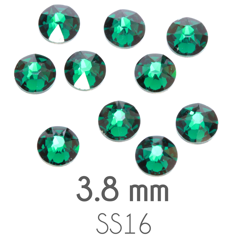 Beads & Swarovski Crystals 3.8mm Swarovski Flat Back Crystals, Emerald, Pack of 20