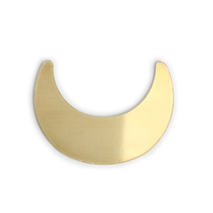 "Metal Stamping Blanks Brass Crescent Moon Blank, 33.5mm (1.32"") x 24.8mm (.98""), 24g, Pk of 5"